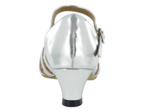 Scarpa Da Ballo Bambina 5 Fasce Colore Argento Tacco 3 5 Cm Slim Back