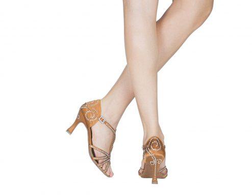 Scarpa Da Ballo Donna 4 Fasce Con Cristal Strass In Raso Flesh Tc Cm 7 5 Indossato
