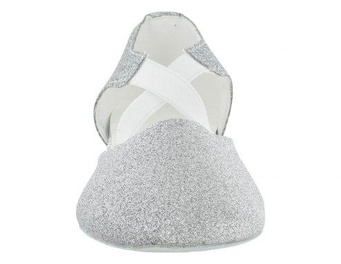 Scarpa Da Ballo Insegnate Colore Argento Brillantinato Tacco 2,5 Cm Front