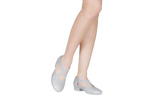 Scarpa Da Ballo Insegnate Colore Argento Brillantinato Tacco 25 Cm Indossato