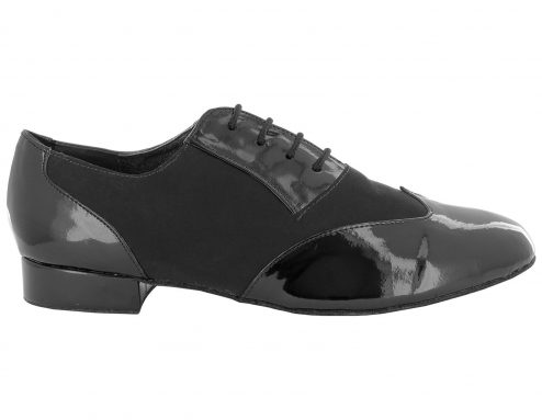 Scarpa Da Ballo Uomo In Vernice E Nabuk Nero Pianta Confort Tacco 2 5 Cm Right