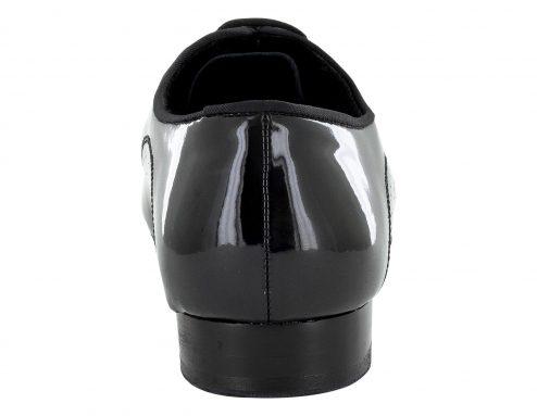 Scarpa Da Ballo Uomo Standard Doppia Suola In Vernice Nero Tacco 2,5 Cm Back