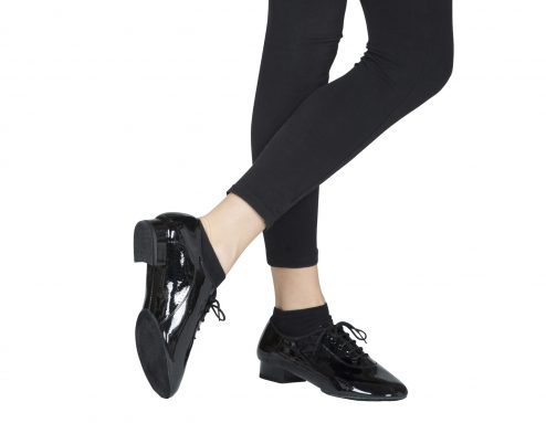 Scarpa Da Ballo Uomo Standard Doppia Suola In Vernice Nero Tacco 25 Cm Indossato