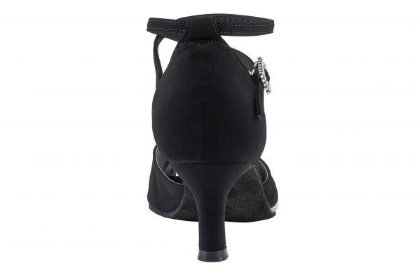 Scarpa Da Ballo In Nabuk Punta Aperta Con Inserto In Tessuto Argentato Colore Nero Argento Tacco 6 Cm Back
