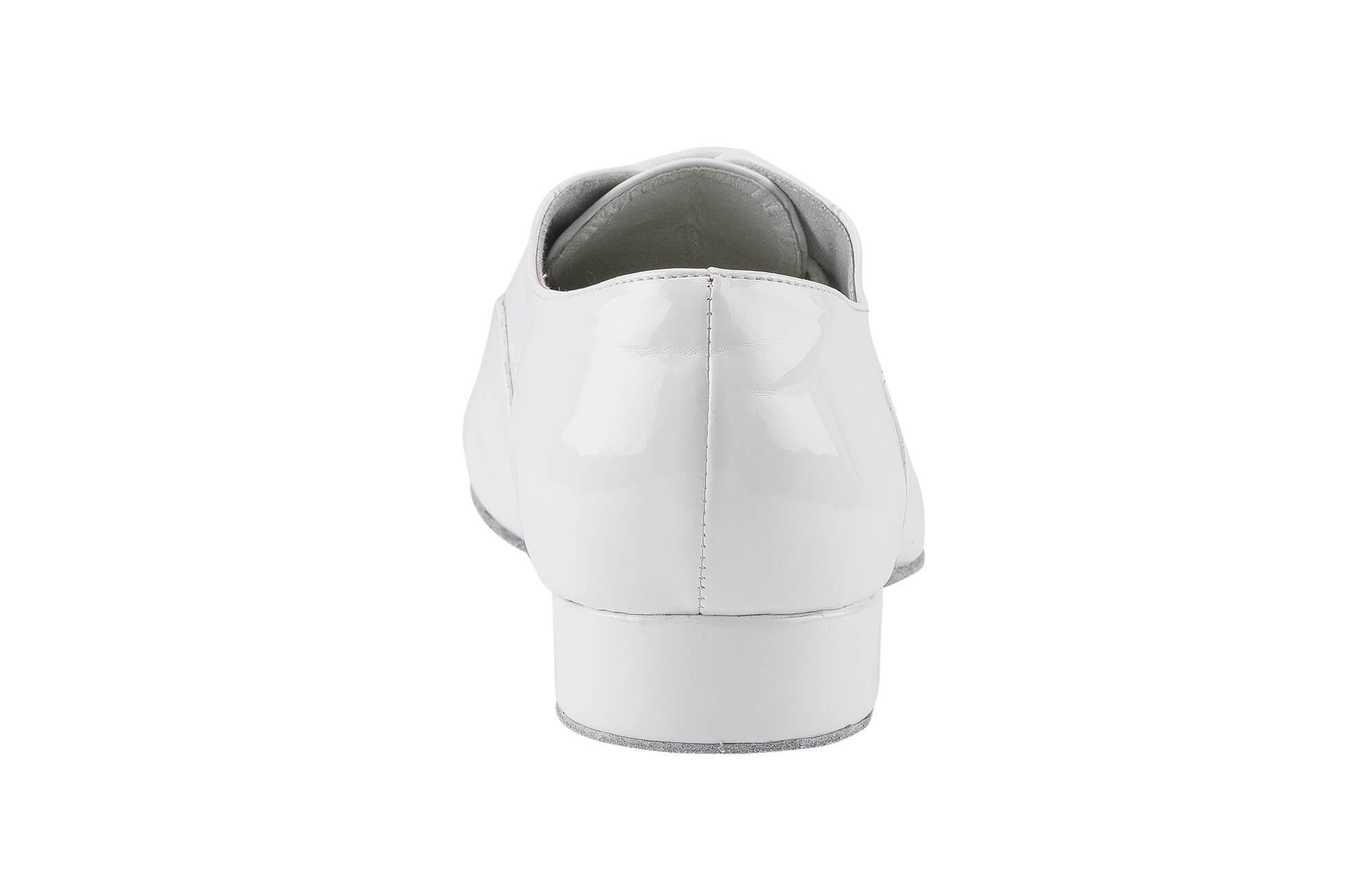 Scarpa Da Ballo Modello Oxford In Vernice Bianco Tacco 2 5 Cm Back