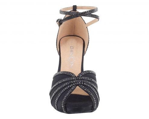 Scarpa Da Ballo Donna Con Plateau In Raso Nero E Crystal Strass Tacco Stiletto Cm 8 Front
