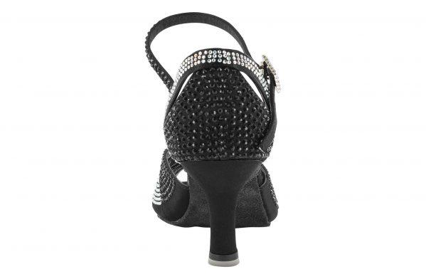 Scarpa Da Ballo Punta Aperta In Raso Nero Con Tomaia Cinturino E Fibbia Ricoperti Di Crystal Strass Tacco 5,5 Cm Back