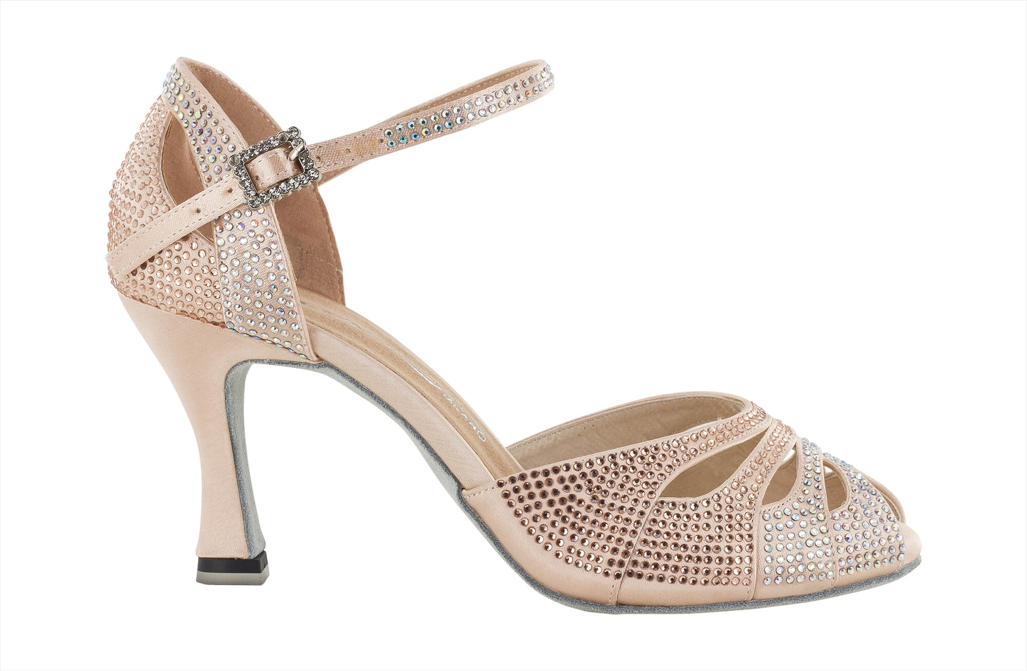 on sale 293fb 9806e Dancing shoes open pointy in face powder pink satin covered with crystal  strass heel 7,5 cm - Dancin scarpe da ballo