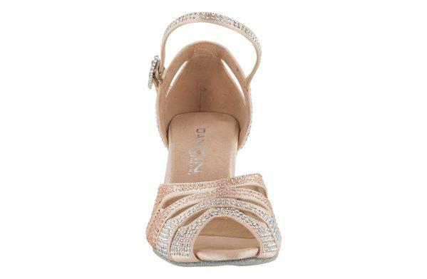 Sandalo Da Ballo In Raso Cipria Con Strass Aurora Boreale E Rosa Cipria Front