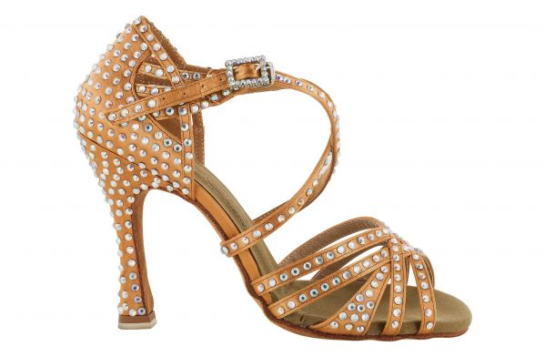 Scarpa Da Ballo 5 Fasce In Raso Flesh Incrociate Tempestato Di Cristal Strass Tacco 10 Cm Right