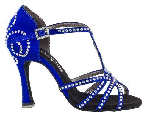 Scarpa Da Ballo 5 Fasce Incrociate Colore Blu Tempestato Di Cristall Stass Tacco 10 Cm Right