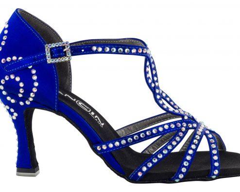 Scarpa Da Ballo 5 Fasce Incrociate Colore Blu Tempestato Di Cristall Stass Tacco 7,5 Cm Right