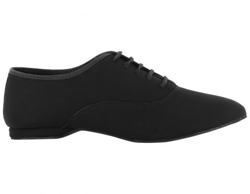 Scarpa Da Ballo Uomo Oxford Jazz In Nabuk Nero Stringata Tacco 1 Cm Right