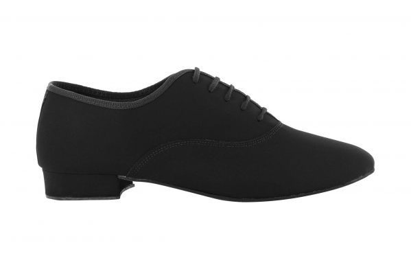 Scarpa Da Ballo Uomo Oxford Jazz In Nabuk Nero Stringata Tacco 2 5 Cm Right