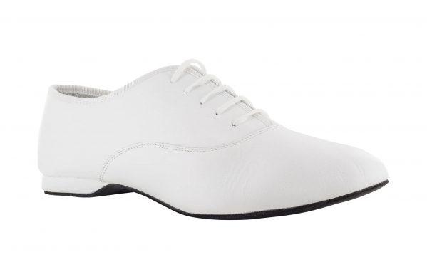 Scarpa Da Ballo Uomo Oxford Jazz In Pelle Bianco Stringata Tacco 1 Cm