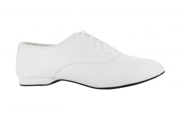 Scarpa Da Ballo Uomo Oxford Jazz In Pelle Bianco Stringata Tacco 1 Cm Bianco