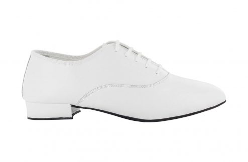 Scarpa Da Ballo Uomo Oxford Jazz In Pelle Bianco Stringata Tacco 2 5 Cm Right