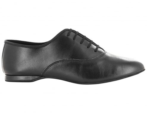 Scarpa Da Ballo Uomo Oxford Jazz In Pelle Nero Stringata Tacco 1 Cm Right