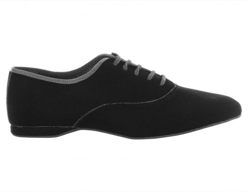 Scarpa Da Ballo Uomo Oxford Jazz In Velluto Nero Stringata Tacco 1 Cm Right 1