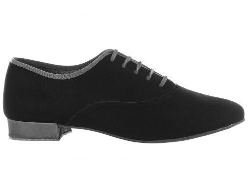 Scarpa Da Ballo Uomo Oxford Jazz In Velluto Nero Stringata Tacco 2 5 Cm Right