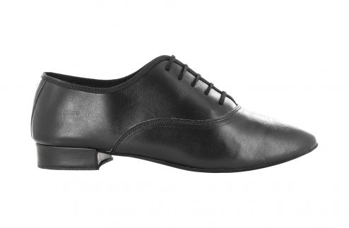 Scarpa Da Ballo Uomo Oxford Jazz In Pelle Nero Stringata Tacco 2 5 Cm Right
