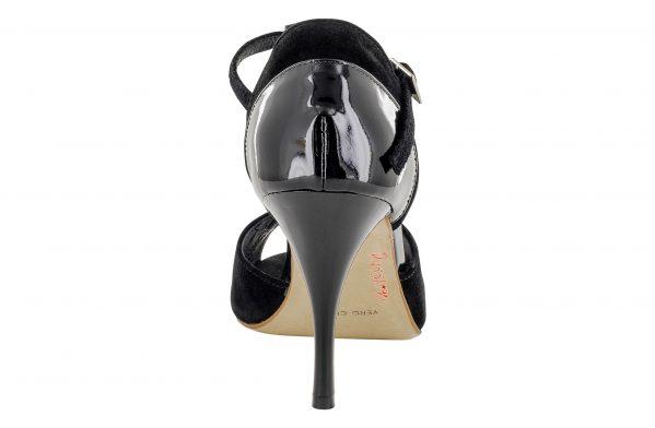 Scarpe Da Ballo Linea Atelier Passione Tango Con Con Inserti In Vernice Nera Tc 8 5 Cm Back