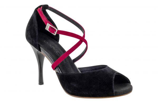 Scarpe Da Ballo Linea Atelier Passione Tango Con Doppio Cinturino In Camoscio Nero E Rosso Tc 8 5 Cm