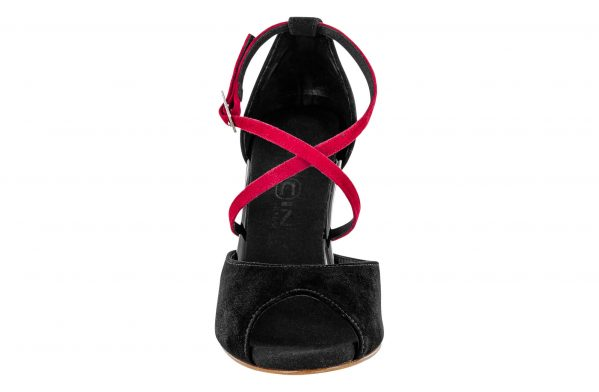 Scarpe Da Ballo Linea Atelier Passione Tango Con Doppio Cinturino In Camoscio Nero E Rosso Tc 8 5 Cm Front