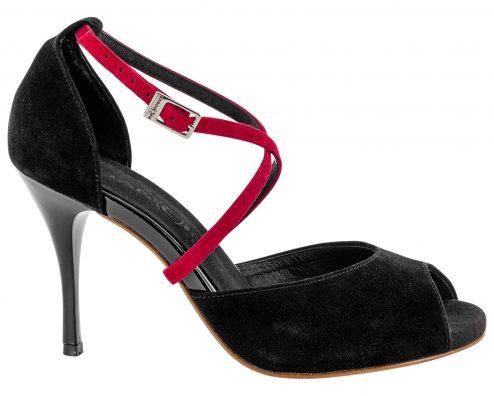 Scarpe Da Ballo Linea Atelier Passione Tango Con Doppio Cinturino In Camoscio Nero E Rosso Tc 8 5 Cm Right 1