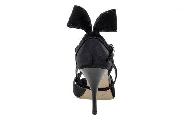Scarpe Da Ballo Linea Atelier Passione Tango Con Fiocco In Pelle Scamosciata Nera Tc 8 5 Cm Back