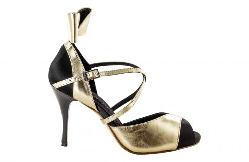 Scarpe Da Ballo Linea Atelier Passione Tango Fiocco In Pelle Metallic Platinum Tc 8 5 Cm Right