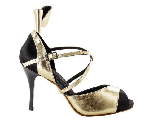 Scarpe Da Ballo Linea Atelier Passione Tango Fiocco In Pelle Metallic Platinum Tc 8 5 Cm Right