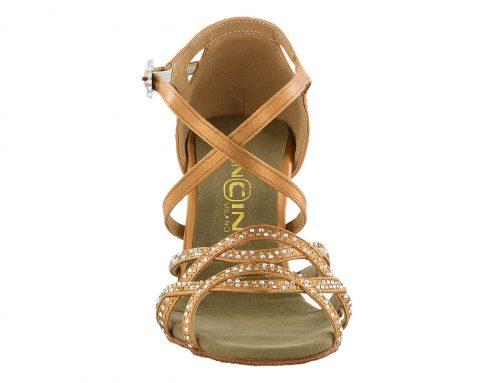 Scarpa Da Ballo Sandalo Con 4 Fasce Incrociate Full Strass Ambra E Aurora Boreale Tc 75 Cm Front