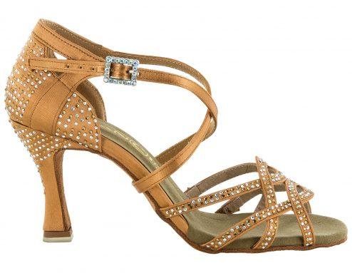 Scarpa Da Ballo Sandalo Con 4 Fasce Incrociate Full Strass Ambra E Aurora Boreale Tc 75 Cm Right