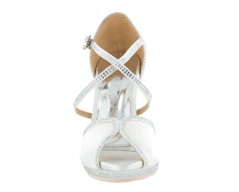 Scarpa Da Ballo In Raso Bianco Con Crystall Strass White Brilliant Tacco 10 Cm Front