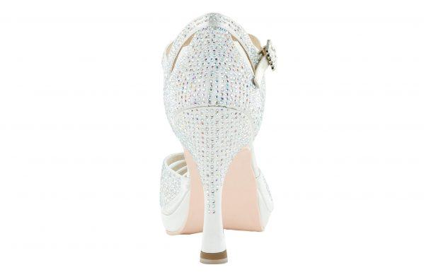 Scarpa Da Ballo Punta Aperta In Raso Bianco Con Crystall Strass White Brilliant Tacco 10 Cm Back