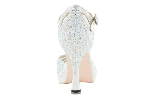 Scarpa Da Ballo Punta Aperta In Raso Bianco Con Crystall Strass White Brilliant Tacco 10 Cm Back