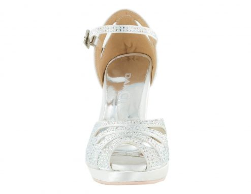 Scarpa Da Ballo Punta Aperta In Raso Bianco Con Crystall Strass White Brilliant Tacco 10 Cm Front