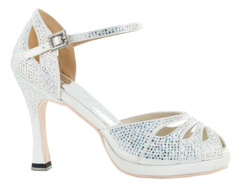 Scarpa Da Ballo Punta Aperta In Raso Bianco Con Crystall Strass White Brilliant Tacco 10 Cm Right
