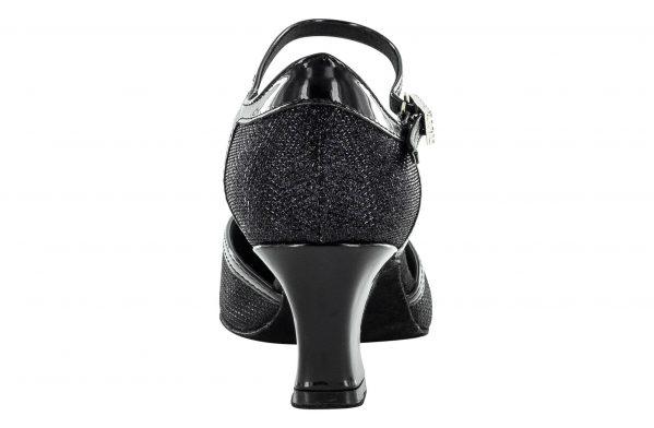 Scarpe Da Ballo Donna Punta Chiusa Dalla Silhouette Senza Tempo Colore Nero Brillantinato Tacco 5,5 Cm Back