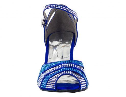 Scarpa Da Ballo In Raso Blu Cobalto Completamente Ricoperta Di Crystal Strass Blu Cobalto E Aurora Boreale Tacco 7 5 Cm Front