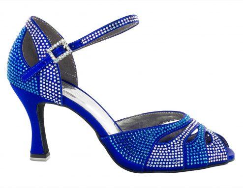 Scarpa Da Ballo In Raso Blu Cobalto Completamente Ricoperta Di Crystal Strass Blu Cobalto E Aurora Boreale Tacco 7 5 Cm Right 1