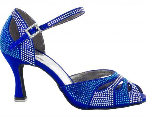 Scarpa Da Ballo In Raso Blu Cobalto Completamente Ricoperta Di Crystal Strass Blu Cobalto E Aurora Boreale Tacco 75 Cm