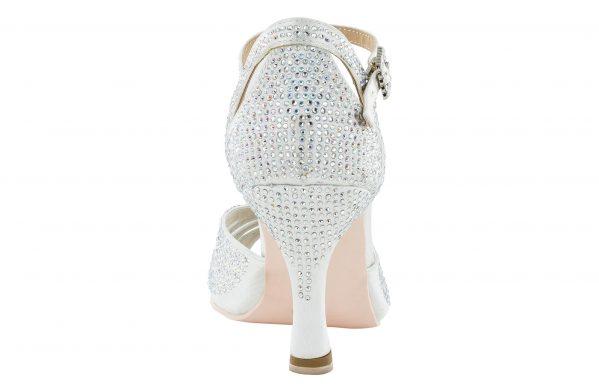 Scarpa Da Ballo Limited Edition In Raso Bianco Completamente Ricoperta Di Crystal Strass Aurora Boreale Tacco 7,5 Cm Back