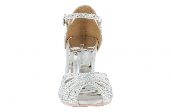 Scarpa Da Ballo Limited Edition In Raso Bianco Completamente Ricoperta Di Crystal Strass Aurora Boreale Tacco 7,5 Cm Front