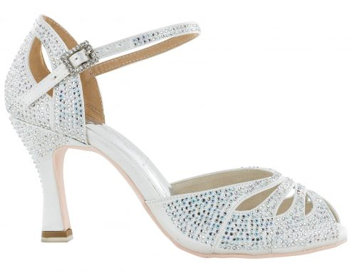 Scarpa Da Ballo Limited Edition In Raso Bianco Completamente Ricoperta Di Crystal Strass Aurora Boreale Tacco 7,5 Cm Right