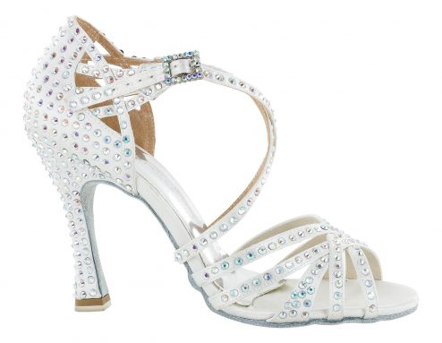 Scarpa Da Ballo Limited Edition In Raso Bianco Con Listini Incrociati 5 Fasce Tacco 10 Cm Right