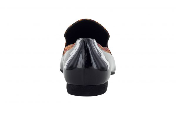 Mocassino Da Ballo Uomo Dandy Limited Edition In Vernice Nera E Pregiato Tessuto Joel Arancione Tc 1 Cm Back