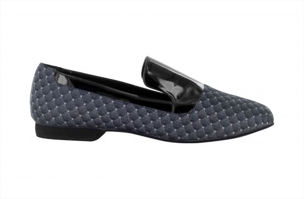 Mocassino Da Ballo Uomo Gaga Limited Edition In Vernice Nera E Pregiato Tessuto Marinella Grigio Tc 15 Cm Right 1