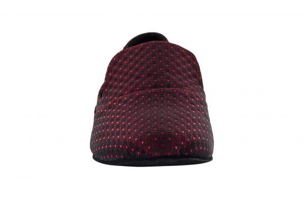 Mocassino Da Ballo Uomo Viveur Limited Edition In Pregiato Tessuto Celebrity Rosso Bordeaux Tc 1 Cm Front